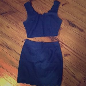 Scalloped blue two piece